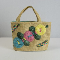 Vintage Straw Purse Tote Bag Raffia Embroidered Flowers Beach Souvenir Kitsch