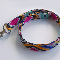 Ikat Tribal Lanyard / Tribal Print / Boho Keychain / Bohemian / Teal / Key Lanyard / Hot Pink / ID Badge Holder / Fabric Lanyard / Ikat