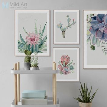 Watercolor Succulent Plants Cactus Flower Poster Print Nordic Style Living Room Big Wall Art Pictures Home Decor Canvas Painting