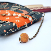 Owl orange and black pleated Clutch Purse, zippered Pouch, summer Clutch, wristlet