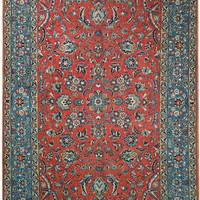 SIGNED Authentic Persian Sarouk 7' x 10' HANDMADE Rug RED BLUE