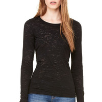 Bella Burnout Long Sleeve Black Tee Shirt Top