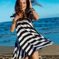 Black And White Striped Chiffon Beach Dress 10057