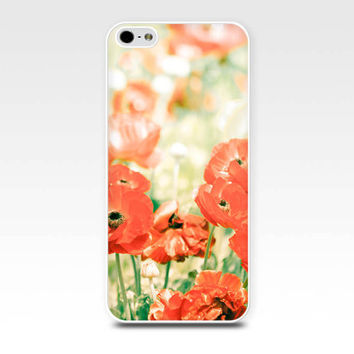 iphone 5s case iphone 6 floral iphone case red poppies iphone case flower iphone 4 case 4s botanical iphone case 5 red lemon gold green art