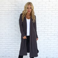 Soft As Can Be Cardigan in Charcoal