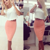 Sexy  Bodycon Shirt Top Tee Skirt Set Two-Piece