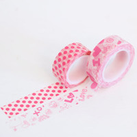 Valentines Day Pink washi tape set, dots and text, Japanese masking tape craft supply, set of 2