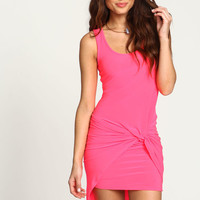 NEON PINK KNOTTED SLEEVELESS DRESS