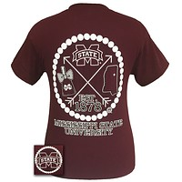 MSU Mississippi State Bulldogs Cowbell Arrow Pearls Girlie Bright T Shirt