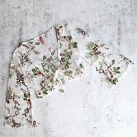 Floral Embroidered Sheer Quarter Length Sleeve Crop Top in White Floral