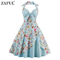 ZAFUL New Women Vintage Dress Plus Size Floral Print Pin Up Halter Summer Dresses Retro 50s Rockabilly Party Feminino Vestidos