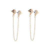 River Island Womens Gold tone spike chain earrings