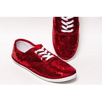 Red Sequin Canvas Oxford Sneakers