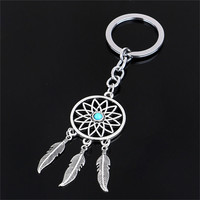 Dream Catcher Feather Tassels Tone Key Chain Silver Color Keyring Keychain Gift For Women  1Pcs Hot Sale