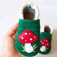 Mushrooms Leather Baby Booties, Baby Shoes, White Green Red Infant Newborn Children