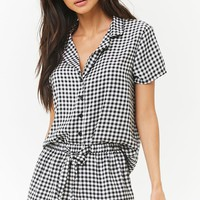 Gingham Satin Pajama Set