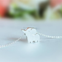 Handmade Silver Elephant Necklace, Silver Lovely Elephant Pendant, Anniversary, Birthday, Christmas, Gift