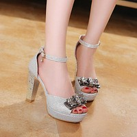 Fashion Ankle Straps Sandals Pumps with Bow Platform High Heels Women Dress Shoes 7084