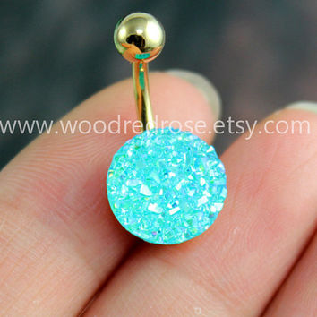 Sparkling belly ring,blingbling belly button ring,Aqua Blue Navel Jewelry,Blue Navel Piercing Ring Stud Piercing