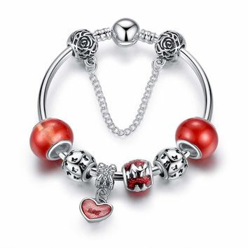 Essence of Love Red & Silver Bangle Bracelet for Woman