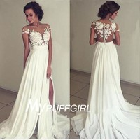 Ivory Illusion Lace Appliques Bodice Slit Prom Dress With Sheer Back