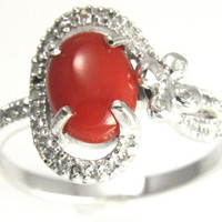 6.85MMX8.75MM GENIUNE NATURAL RED CORAL DIAMOND RING SET IN SOLID 14K WHITE GOLD