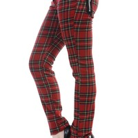 London Rock Funky Red Royal Stewart Tartan Skinny Jeans