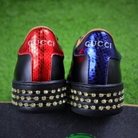 Best Online Sale Gucci Ace With Austrian Drilling Leather Sneaker Women Shoes