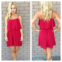 Red Open Back Spagetti Strap Dress