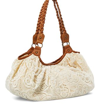 Braided Handle Crochet Hobo Bag