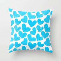 Sketchy hearts in blue and white Throw Pillow by Silvianna