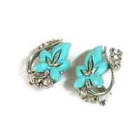 Blue Thermoset and Clear Rhinestones Molded Leaf Earrings signed STAR Vintage