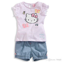 Children Clothes 2014 New Girls Suit Baby girl Summer Striped Casual Short-sleeved T-shirt +Cowboys shorts 2 pc set. BaBy Sets baby Clothin