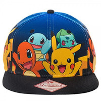 Pokemon Happy Group Gradient Snapback Flat Brim Baseball Cap Hat Costume Hat