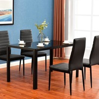 5 Piece: Minimalist Elegance Glass Metal Kitchen Dining Table