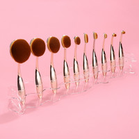 New Desktop Makeup brushes Holder for 10PCS Brush Cosmetic Foundation Brush Shelf  Display Black, Red, Clear #k