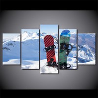 5 Piece Canvas Art Ice Mountain Skiing Painting Snowboard Wall Picture for Livin
