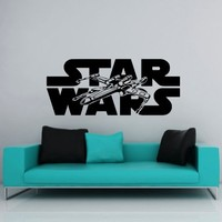 Wall Decals Star Wars Logo Xwing X-Wing Fighter Children Nursery Kids Boys Room Office Window Wall Vinyl Decal Stickers Bedroom Murals