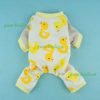 Puppy Pajamas 100% Cotton Yellow Ducks for Yorkie, Chihuaua and other Teacup Toy Dogs - X-Small
