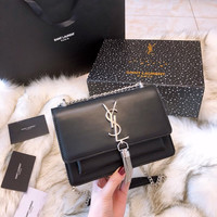 YSL Leather Metal Chain Crossbody Shoulder Bag