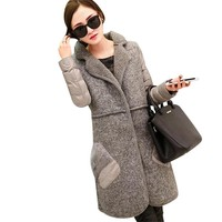 2017 Autumn/Winter Women's Fashion Jacket New European And American Feather Cotton Splicing Fashion Trim Woolen Wool Coat