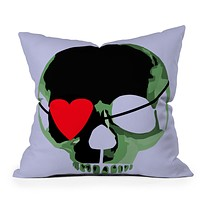 Amy Smith Green Skull With Heart Eyepatch Throw Pillow