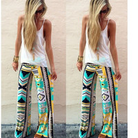 Women's Boho Mint & Yellow Aztec Tribal Pattern High Waist Fold Over Palazzo Pants Yoga Pants