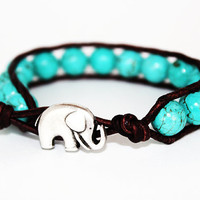 Elephant Bracelet - Wrap Bracelet - Turquoise Blue - Brown Leather - Southwestern - Elephant Luck - Beaded
