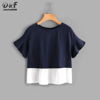 Dotfashion Navy Bell Sleeve Overlap Back Mixed Media T-shirt Summer Color Block Round Neck Casual Shirt With Button Ruffle