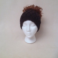 Black Ponytail Hat, Runner's Ear Muffs Beanie, Wide Headband, Honeycomb Hat With a Hole