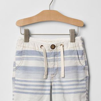 Gap Baby Stripe Chambray Flat Front Pull On Shorts