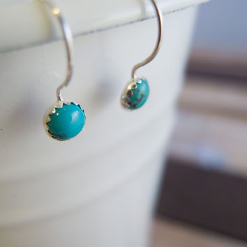 Turquoise Earrings, Turquoise Jewelry, Silver Earrings, Silver Dangle Earrings, Hook Earrings, December Birthstone, Gifts for Women, Trendy