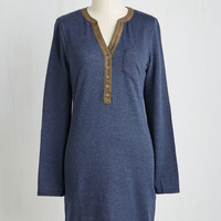 Mid-length Long Sleeve Shift Knitting Nook Dress