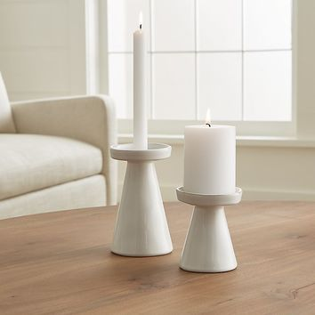 Marin White Taper/Pillar Candle Holders